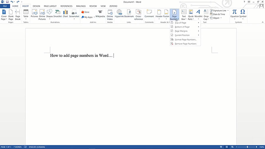 How to Add Page Numbers in Word Document